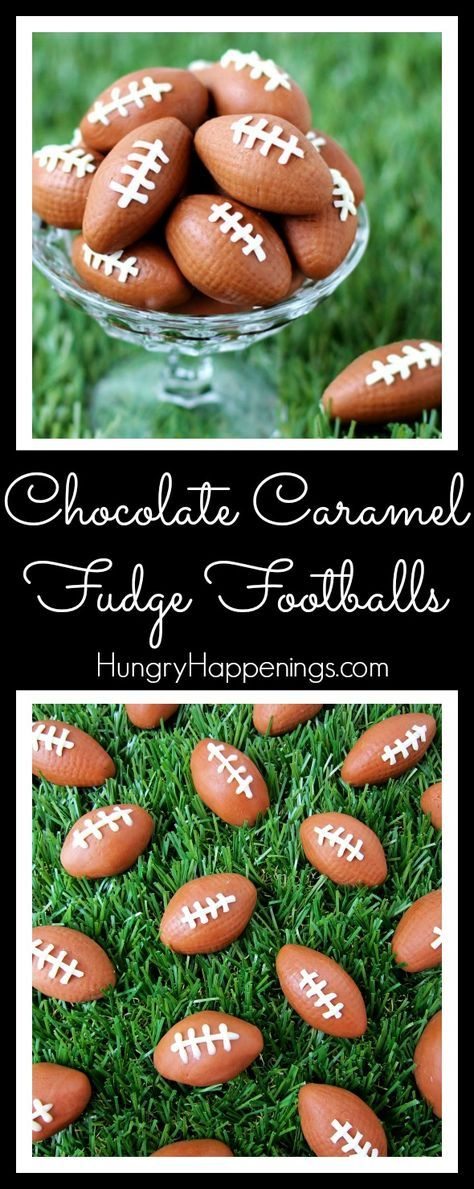 Get ready for the big game by throwing together two ingredients to make some Chocolate Caramel Fudge Footballs. These little treats are easy to decorate with white chocolate laces and will make the perfect snack for your Super Bowl party, tail gating party, or game watching event.