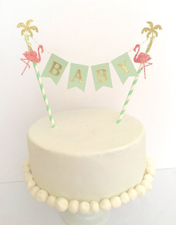 Let's Flamingle Baby Shower Cake Topper~ Mint and Gold Baby Shower ~ Flamingo…