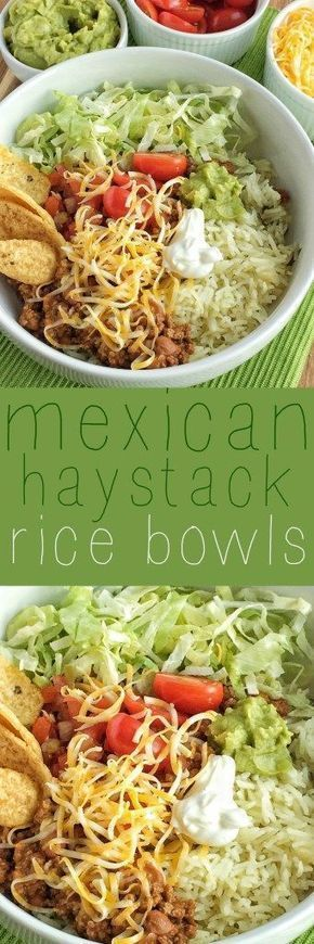 Mexican haystack rice bowls are a tex-mex lovers dream! Cilantro lime rice, seasoned beef, and then piled high with all your favorite toppings!