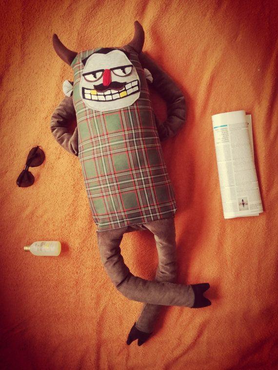 Unique PLUSHIE DEVIL Handmade OOAK. Devil doll. Devil by HugeHug. Krampus. Satan. Devil. Funny monster. Funny plushie. #giftideas #relaxing #plushie #moustache