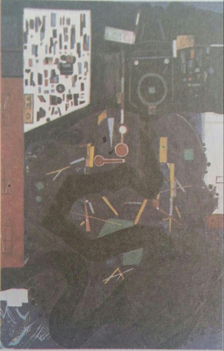 Cemal Bingöl: Soyut. Tuval uzerine yagliboya. 80×120cm. Istanbul resim ve heykel muzesi