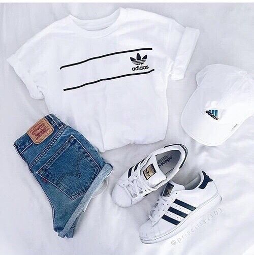 Cute outfit. Adidas fashion. Highwaisted jean shorts. Adidas shoes. Adidas hat. Sporty outfit. Casual outfit . Layout my outfit