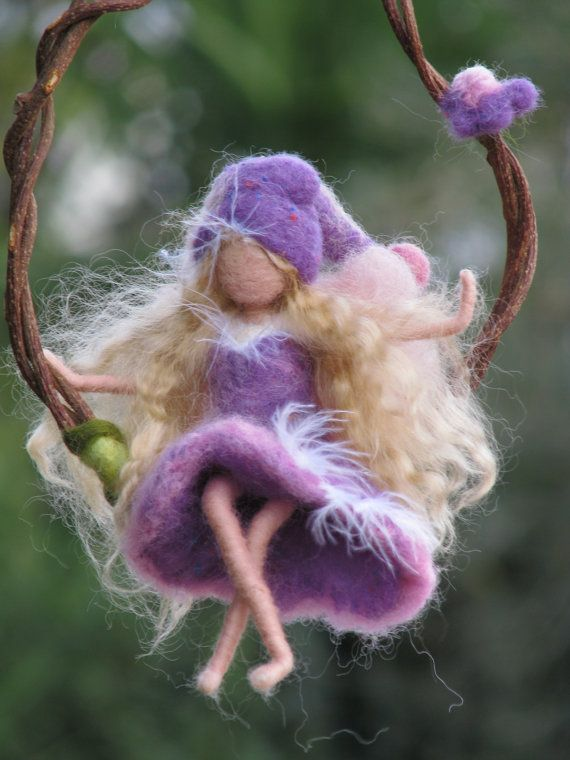 Purple fairy on a twig - needle felted
