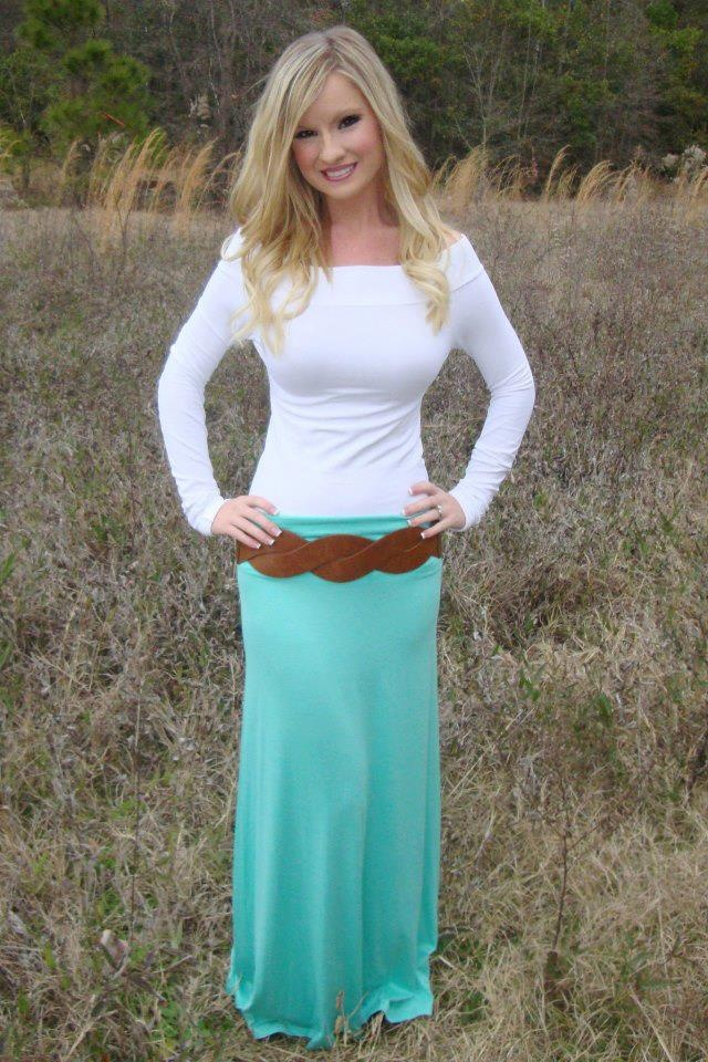white top and brown belt with mint maxi skirt dresses