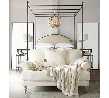 aberdeen metal upolstered headboard canopy bed cal king bronze finish - Metal Canopy Bed Frame