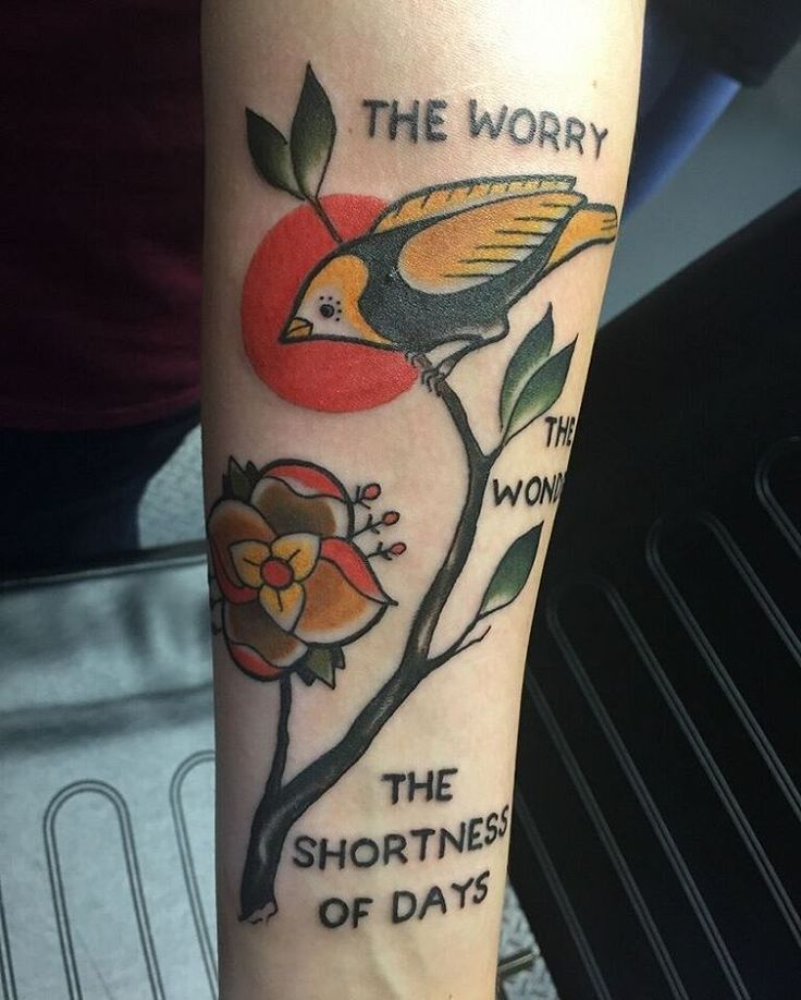 A tribute to the band La Dispute- The worry,  the wonder,  the shortness of days #vintagetattoo #birdtattoo #ironquilltattoo #forearmtattoo #ladytattooers #flowertattoo #ladispute
