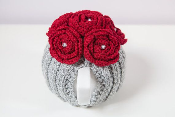 Silver Grey Tea Cozy with Wine Red Crocheted by BittyCreations