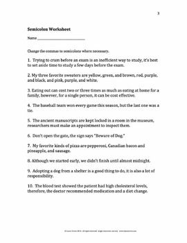 semicolons rules examples worksheet quiz and keys worksheets quizes and keys. Black Bedroom Furniture Sets. Home Design Ideas