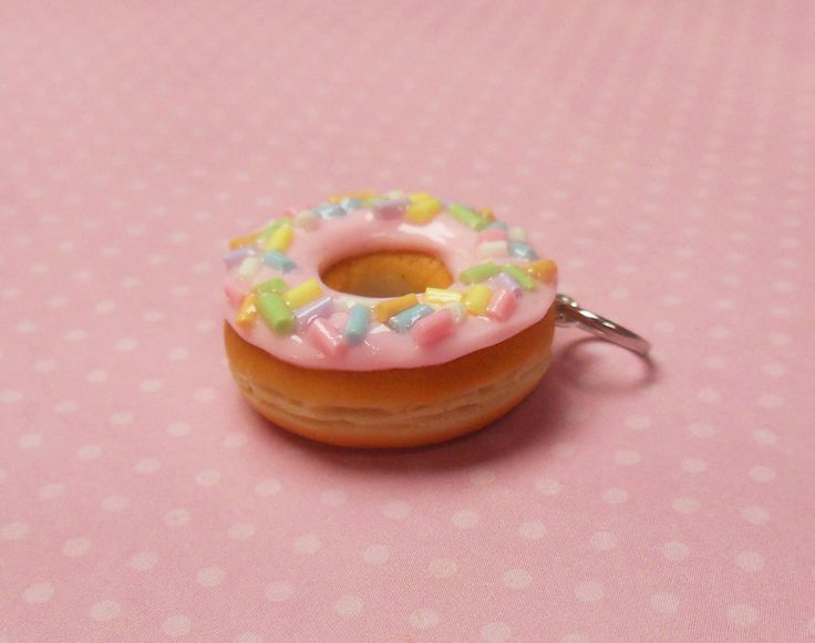 Polymer Clay Pastel Pink Doughnut Charm or Pendant, Food Jewelry, Charm Bracelet, Key Chain by ScrumptiousDoodle on Etsy https://www.etsy.com/uk/listing/274704700/polymer-clay-pastel-pink-doughnut-charm