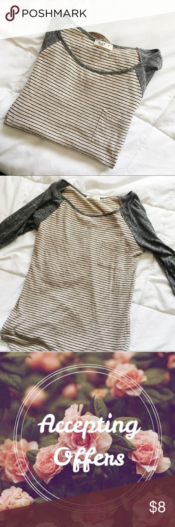 Striped Tee 🌻 Bundle with some of my other items to save on price :)  CHEAPER ON DEPOP APP  Brand new and never worn. This is a total staple in your closet! Very flattering. Fits XS-S. UO for views Urban Outfitters Tops Tees - Long Sleeve