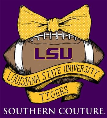 Southern Couture LSU Tigers Footbal Bow University of Louisana Girlie Long Sleeve Bright T Shirt