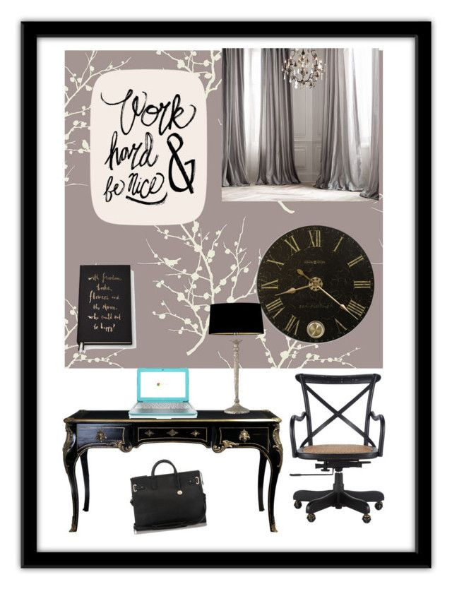 Monochrome chic by sapphirereport on Polyvore featuring polyvore, fashion, style, Brahmin, Tempaper, Restoration Hardware, Kate Spade and Heathfield & Co.
