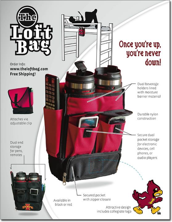 DORM LOFT BAG! Great Invention for College Students in Loft Beds!!!