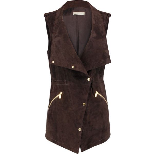 Michael Kors Collection Suede Gilet (£459) ❤ liked on Polyvore featuring outerwear, vests, chocolate, slim vest, slim fit vest, michael kors, suede vest and gilet vest