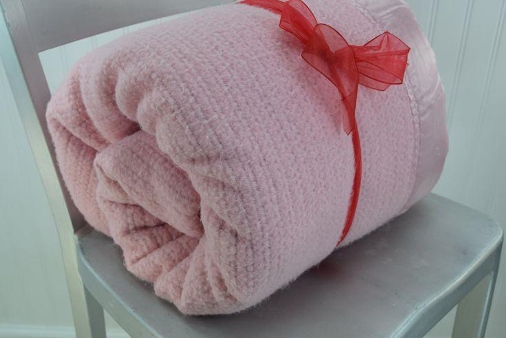 "Pink Thermal Acrylic Blanket Vintage Satin Binding 80"" X 86"""