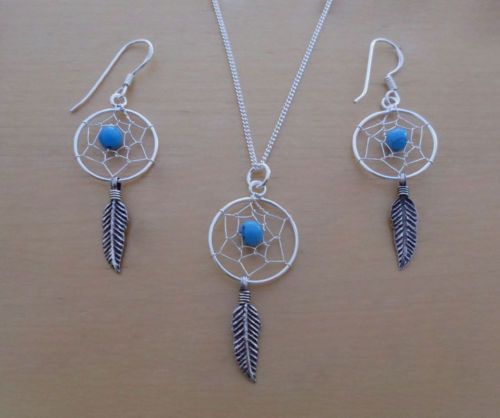 Sterling-Silver-Feather-Spider-Web-Dream-Catcher-Earrings-amp-Pendant-amp-Curb-Chain