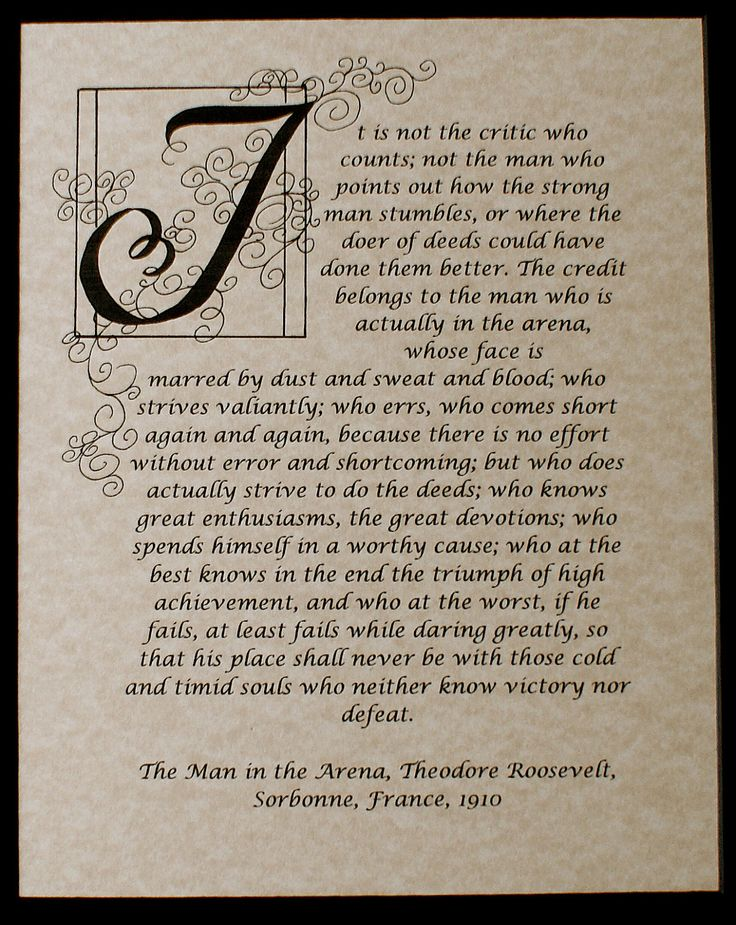 Print, The Man in the Arena, Quote by Theodore Roosevelt, Calligraphy Custom, Military.by ashleychristines