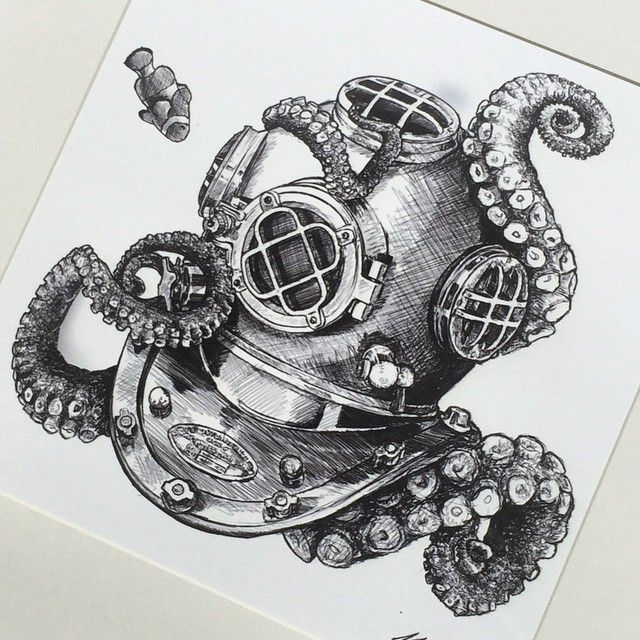Резултат с изображение за octopus and diver tattoo