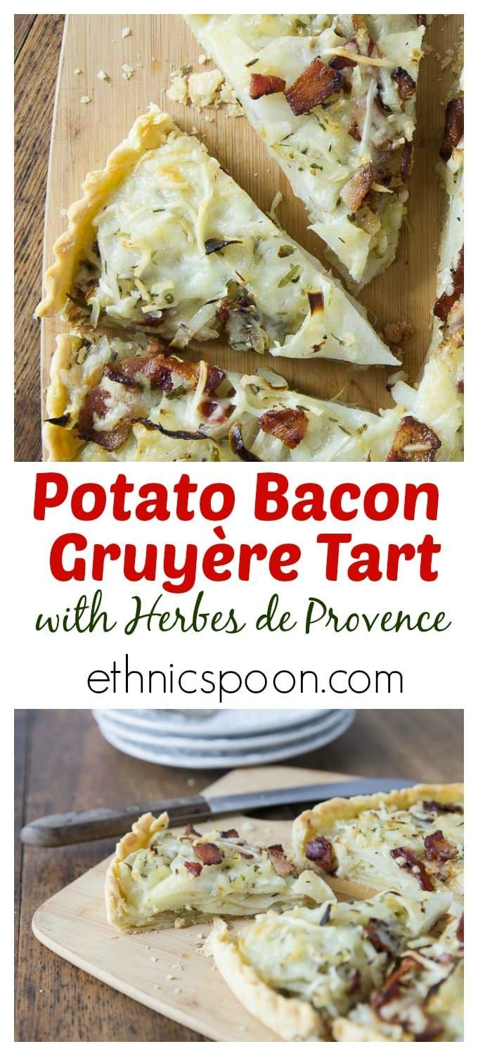 You'll love this tasty potato, bacon & gruyere tart! A lovely savory cheesy tart with sweet onions, salty bacon and a nice hint of herbs with my own special blend of herbes de provence. | http://ethnicspoon.com