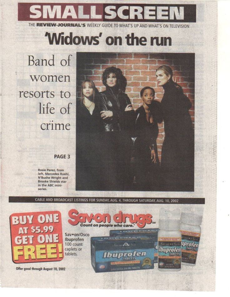 """Widows"" stars Brooke Shields, Rosie Perez, Mercedes Ruehl, and N'Bushe Wright cover Review Journal Small Screen, August 4-10, 2002."
