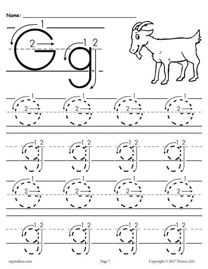 FREE Printable Letter G Tracing Worksheet With Number and Arrow ...