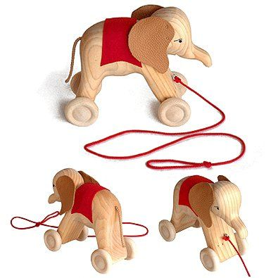 Grimm's Wooden Pull Along Elephant Handcrafted Push/Pull Toy on Wheels, Natural