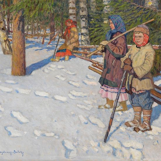 NIKOLAI BOGDANOV-BELSKY, Children in a Wintry Forest