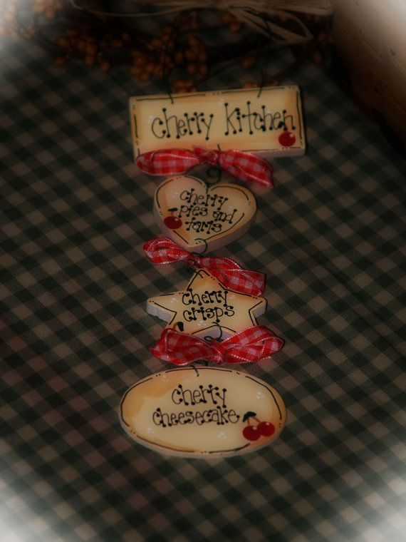CHERRIES Kitchen Decor Cherry Tarts Pies Country Wall Sign