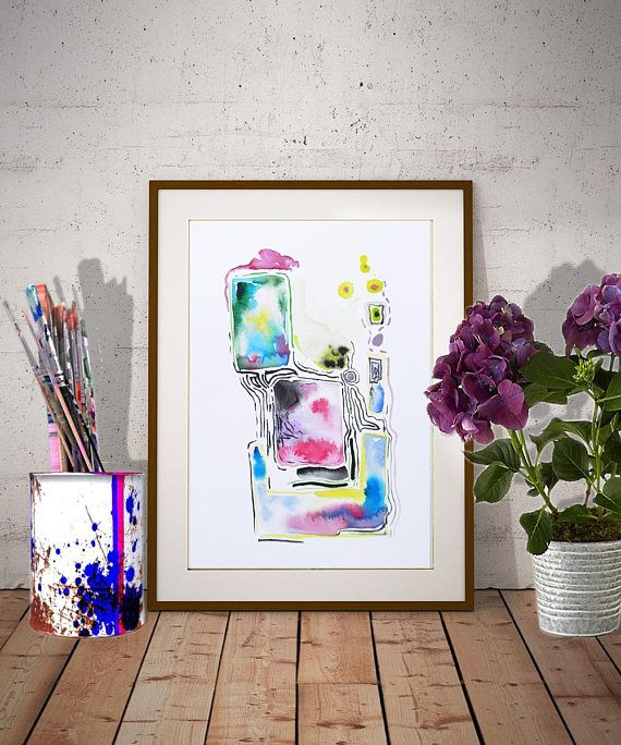 Colorful abstract watercolor painting in pink-blue-yellow