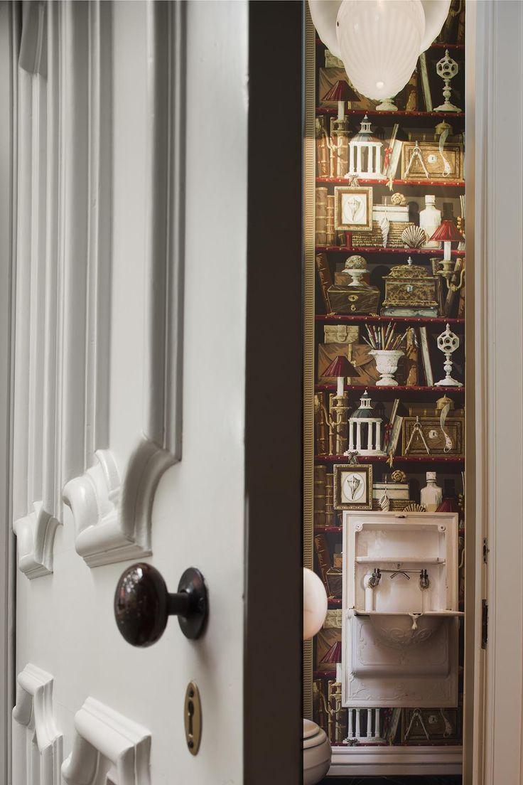 Door Detail To Powder Room With Wallcovering SLC INTERIORS   Interior Design    Charleston, SC