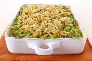 Green bean casserole with Cheez Whiz