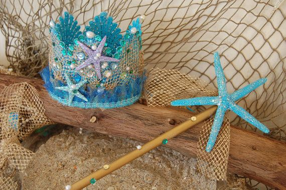 Mermaid Lace Crown and Starfish Wand by GIRLSTHATGLITTER on Etsy