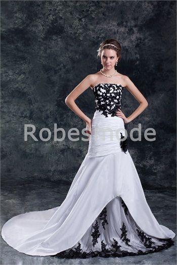 Robe de mariée sirène noire et blanche dos zippé traîne palais