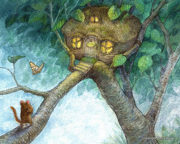 by Petra Brown, Children's Book Illustrator    This artists ability to draw snug little homes with warmth and cheer