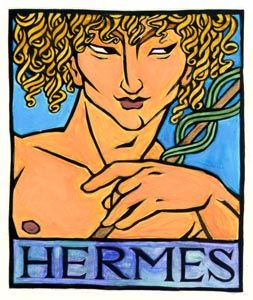 Hermes is the Greek god of merchants, thieves and tricksters who ran messages for Zeus. He also conducted the dead to the Underworld, and He is shown here with His herald's or messenger's staff or caduceus. The Greeks equated the Egyptian Anubis with Him, as Anubis also was a psychopomp.