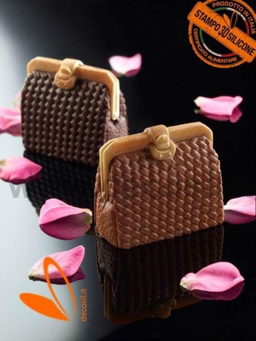 Moule en silicone pour le chocolat en forme de sac à main pour femme avec clip
