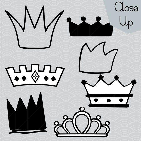 Crown Illustration Princess Tiara Outline Clip Art King Crown Hand Drawn Doodles Vector Graphics Bundle Png Eps Pdf Svg Dxf Art Bundle Crown Clip Art How To Draw Hands