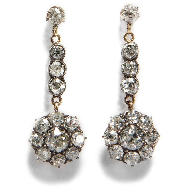 Belle Époque um 1890: Ohrringe aus 585 Gold & 2,00 ct Diamanten Diamant Earrings