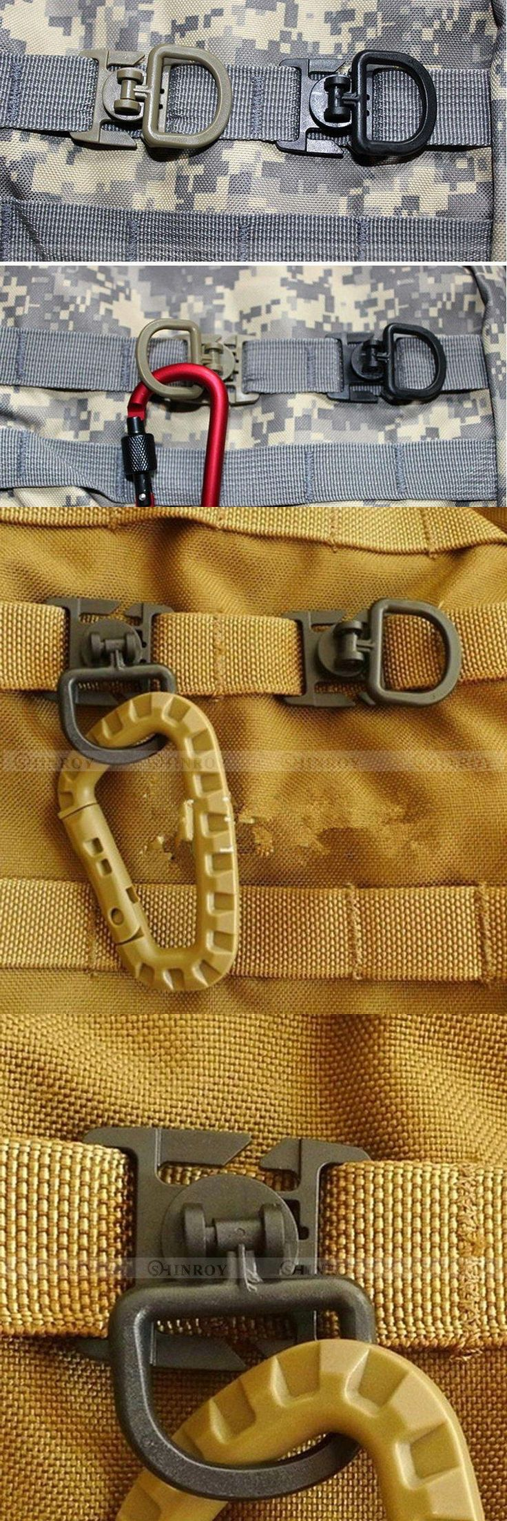 [Visit to Buy] Outdoor camping equipment EDC Tactical 360 Rotating D-Ring Buckle MOLLE 8 Webbing Locking Carabiner vest clothing Backpack #Advertisement