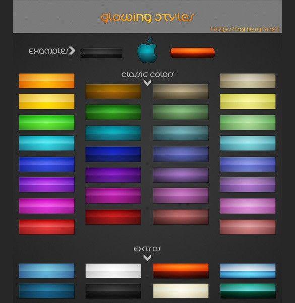 XOO Plate :: Stylish Glowing Colors Web UI Buttons Pack PSD - Glowing colors style web Ui buttons pack in psd.