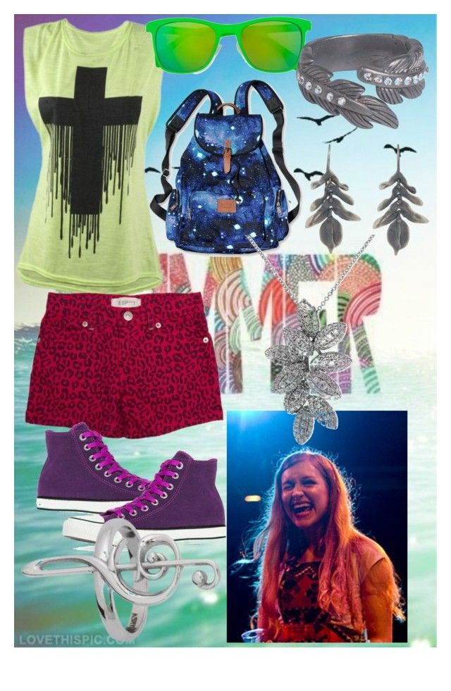 summer by slytheriner on Polyvore featuring ESP No. 1, Converse, Victoria's Secret PINK, Pieces, Effy Jewelry, Ten Thousand Things and Italia Independent
