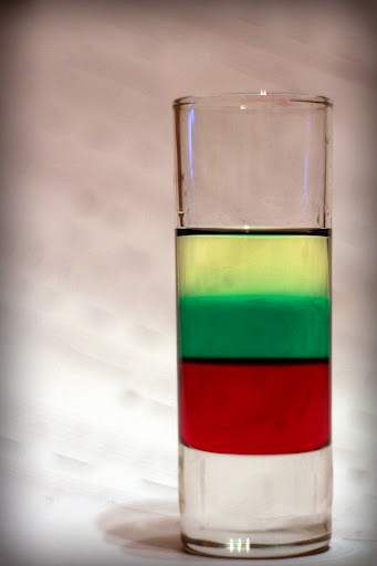 "Layered shot ""Lithuanian flag"" - grenadine, mint liqueur and tequila gold."