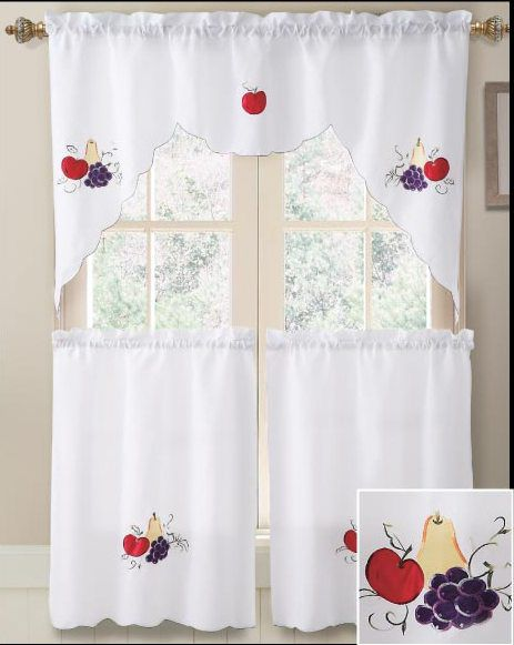 Bathroom And More   3 Piece Fruit Design Embroidered Kitchen Window Curtain  Set, $13.95 ( Part 39