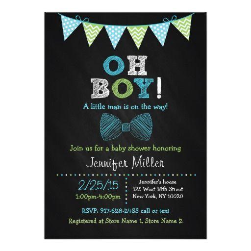 Bow Tie Chalkboard Oh Boy Baby Shower Invitations