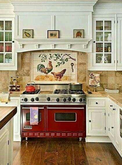Red Stove Rooster Tile In 2019 Country Kitchen Designs