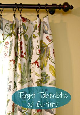 DIY: Easy, No-Sew Curtains - using tablecloths and clip rings. These are the easiest and most inexpensive window treatments! They have finished edges, and if they're too long, just fold over at the top - via www.goldenboysandme.com