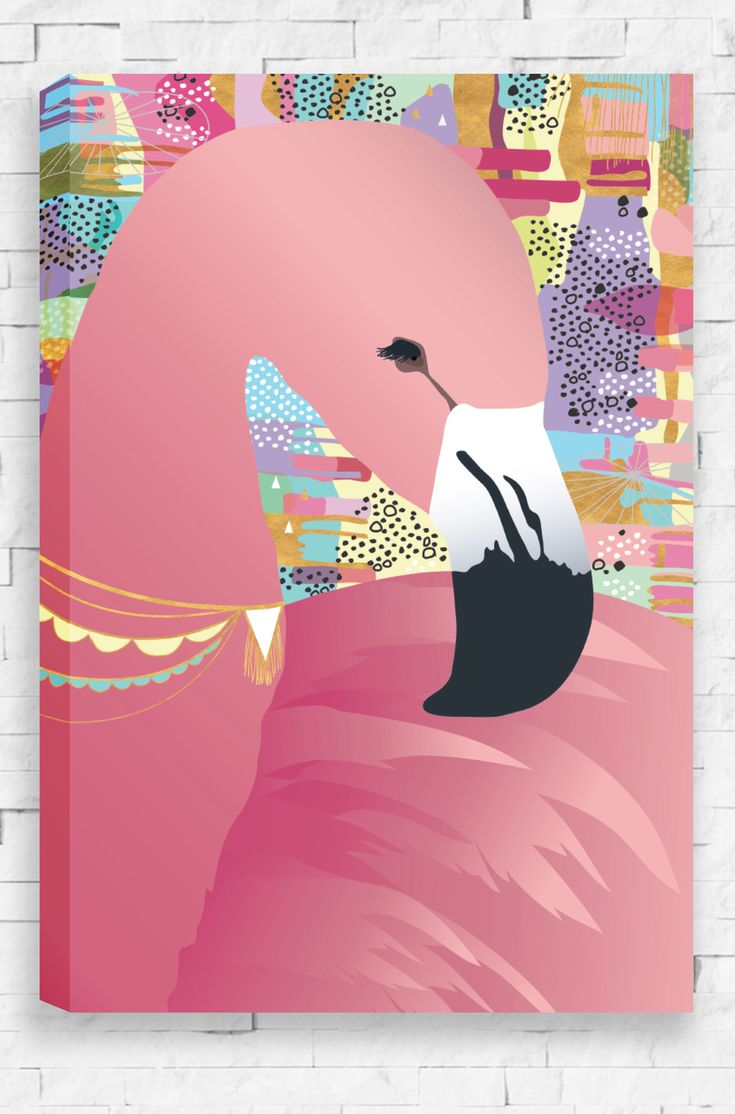 Sweet Dreams, a portrait of a graceful flamingo on a detailed, pastel inspired background. With long eyelashes and a sweet, peaceful pose, this canvas is a perfect match for any little girl.