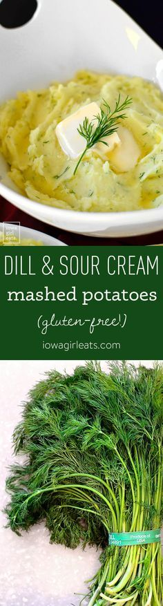 If you love sour cream and onion potato chips than you'll flip for Sour Cream and Dill Mashed Potatoes. An easy and delicious gluten-free side dish! | iowagirleats.com