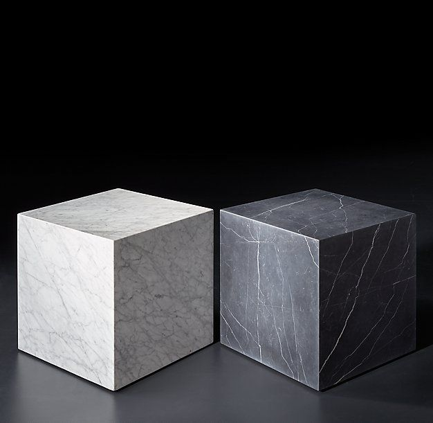Marble Plinth Cube Side Tables From RH Modern