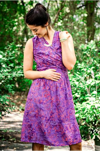 Sagiso Purple Batik Dress | Knee length Batik dress | Indonesia | shopgofish.com